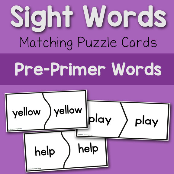 Sight Words Matching Puzzle Cards Pre-Primer - Mamas Learning Corner