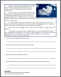 Clouds and The Water Cycle Worksheets - Mamas Learning Corner