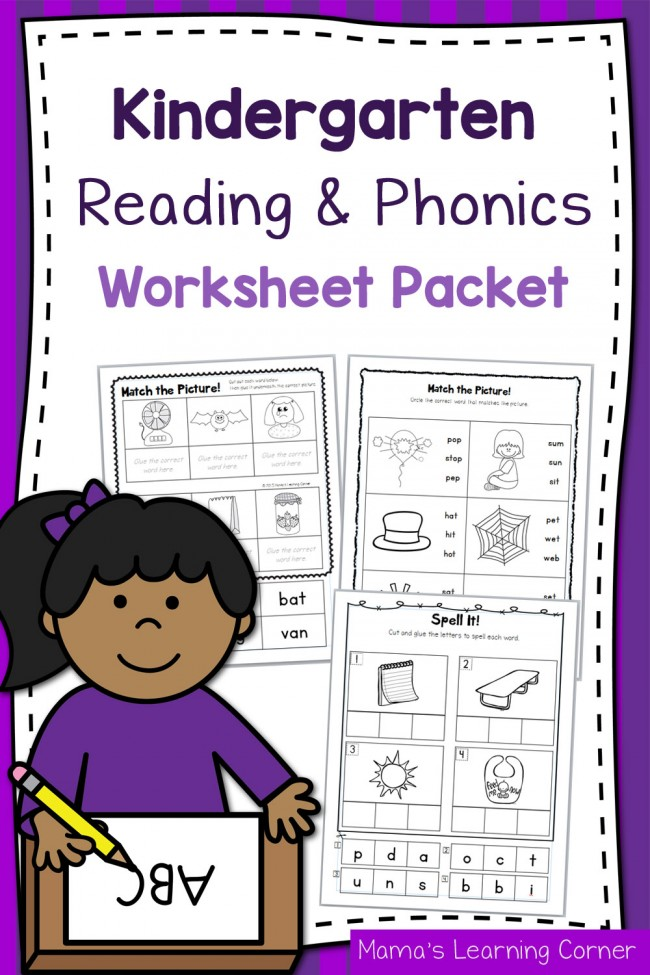 Kindergarten Reading and Phonics Worksheet Packet - Mamas Learning