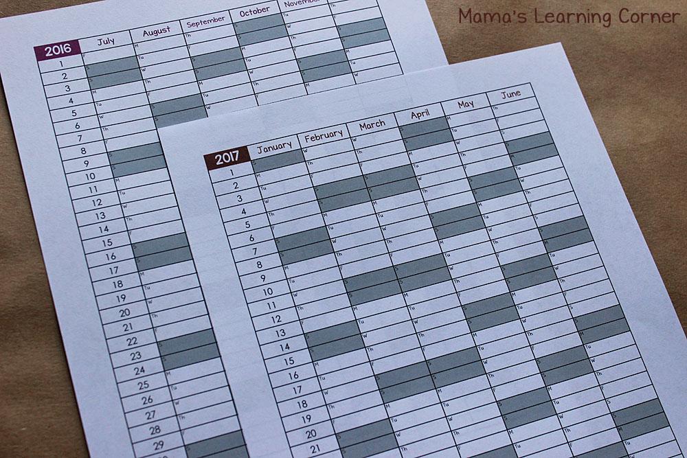 Simple Homeschool Attendance Record 2016-2017 - Mamas Learning Corner - printable attendance chart