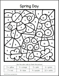 Spring Color By Number Worksheets - Mamas Learning Corner