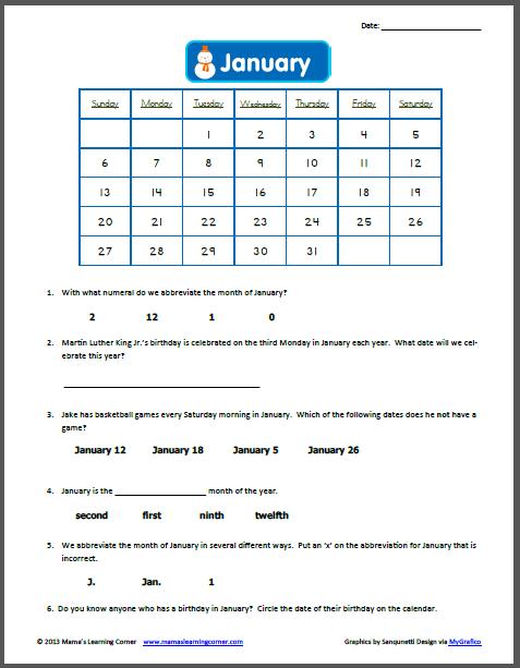 Kindergarten Calendar Activities Worksheets : Printable kindergarten calendar worksheets time