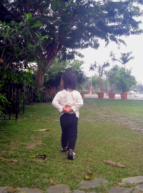 Our little inspector - Vera policing the grounds at our recent Batam getaway