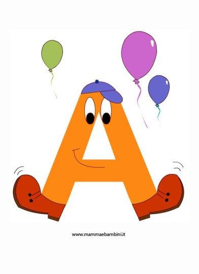 Alfabetiere per bambini da stampare e colorare: la A in alfabetiere e numeri