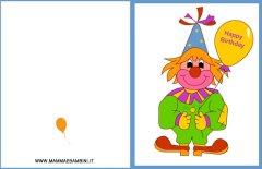 Biglietti auguri compleanno: clown con un palloncino