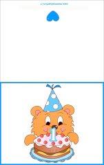 Biglietti auguri compleanno:numero 1 con orso