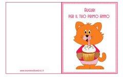 Biglietti compleanno: torta 1 anno per bambina
