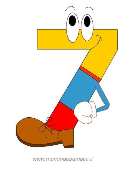 Numeri da stampare e colorare: il 7 in alfabetiere e numeri