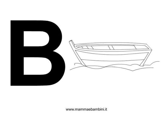 Lettere dell'alfabeto con disegni: B in alfabetiere e numeri