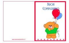 Biglietti auguri compleanno: orsetto con palloncini