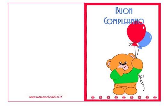 Biglietti auguri compleanno: orsetto con palloncini in biglietti da stampare