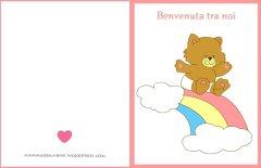 Biglietto auguri battesimo o nascita: arcobaleno rosa