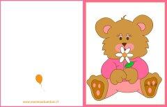 Biglietto auguri compleanno:orso con fiore rosa