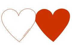 Biglietto a forma di cuore rosso da stampare