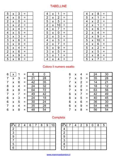 esercizi con le tabelline schede da stampare