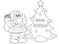 Disegno albero con Babbo Natale da colorare  Mamma e Bambini