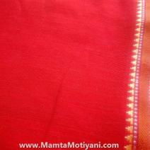 Bright Red Indian Handloom Sari Fabric