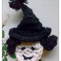 Crochet Witch Head Applique Pattern