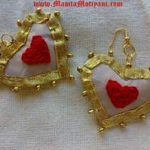 Handmade Heart Shaped Silk Fabric Earrings