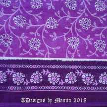 Purple Floral Print Sari Fabric