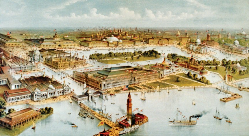 96805-050-e35dc6cf Birds-eye view of the 1893 Worlds Columbian Exposition Chicago Burnham plab
