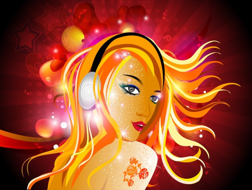 Girl DJ with headphones and lights. Graphicstock