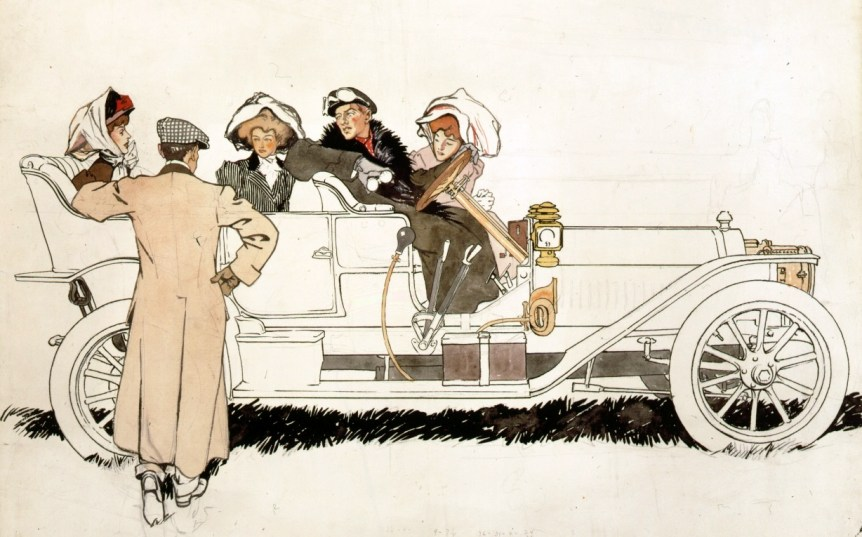 Advertisment design study for Pierce Arrow automobiles (1915). By Edward Penfield. Via Library of Congress collection.