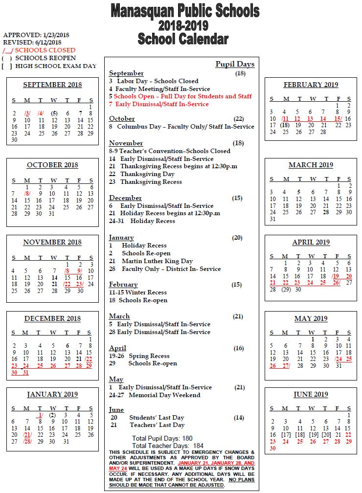 District Calendar / Current Year 2018-19