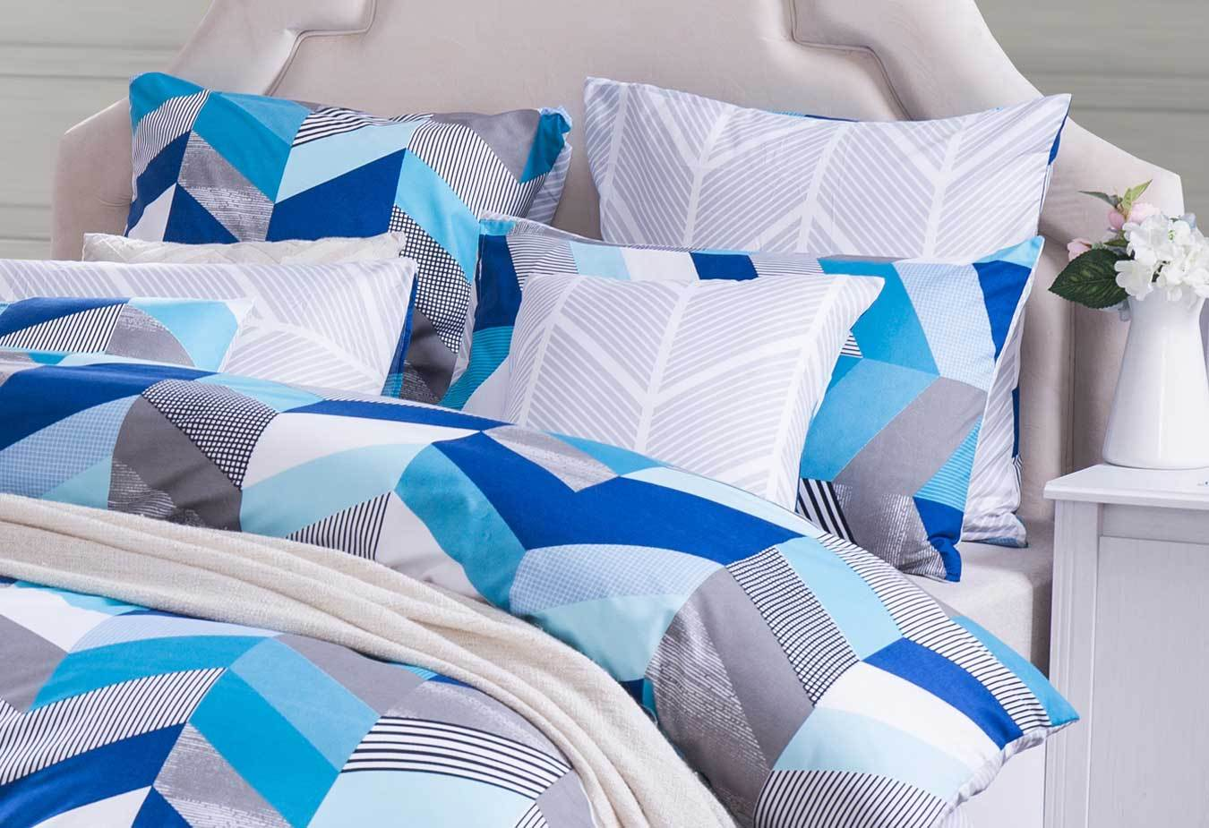 Ricoco Tory Chevron Quilt Cover Set Queen Or King Doona