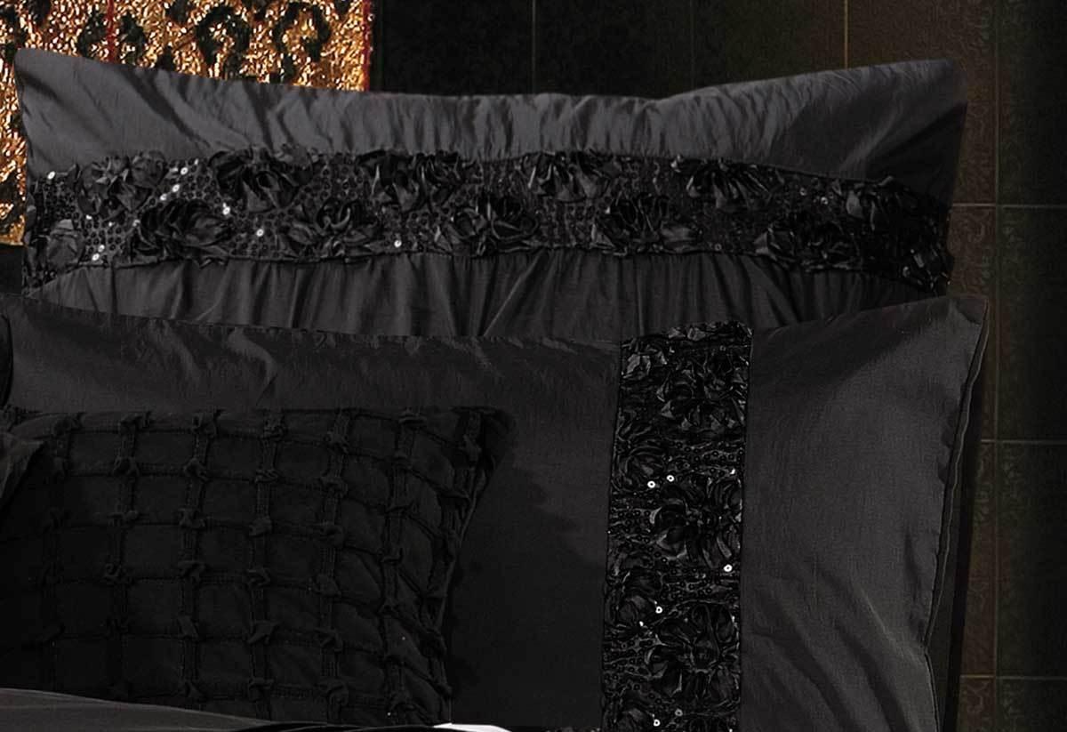 King Queen Samania Black Quilt Cover Set Luxury Black