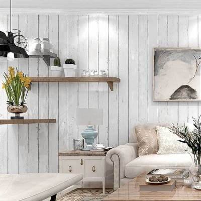 Country Rustic Wood Panel look WHITE striped wallpaper industrial shop fitting wall paper roll 10M
