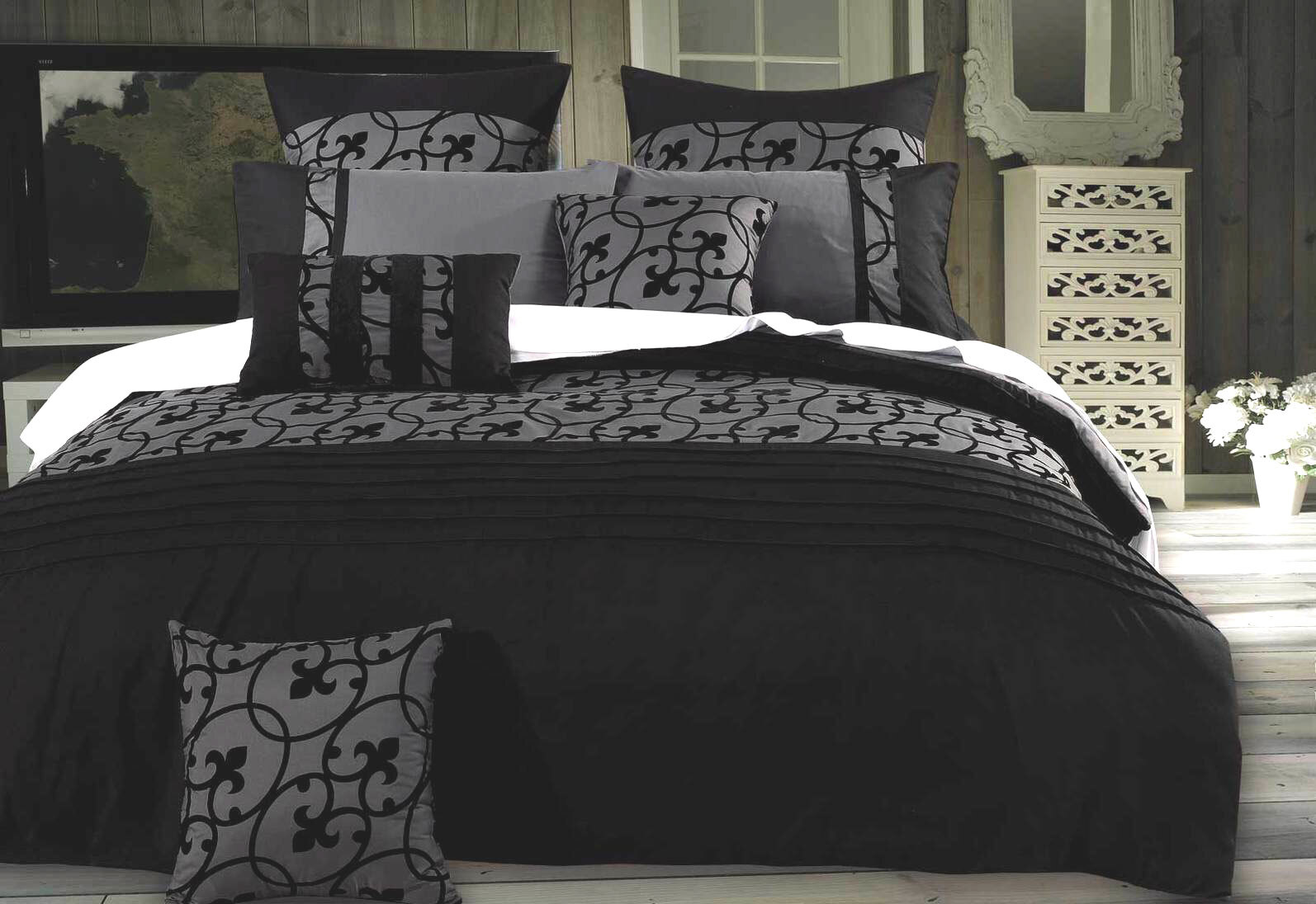 Lyde Charcoal Grey Duvet Cover Set Black Flocking Design