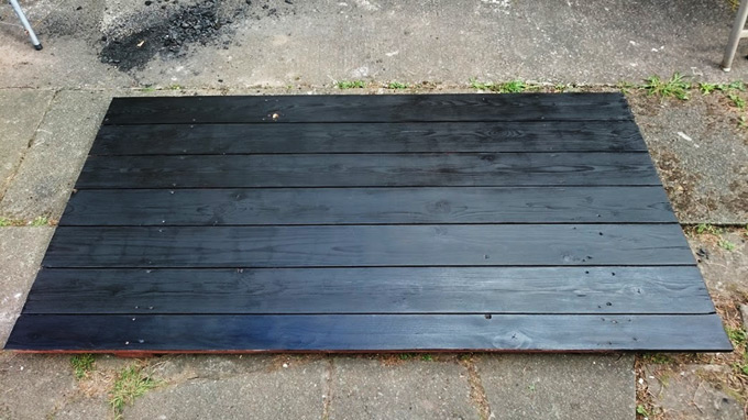 DIY table top painted in black wood stain