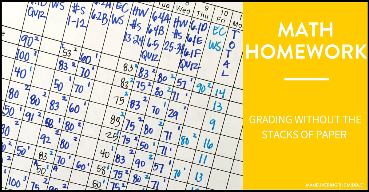 Grading Math Homework Made Easy - Maneuvering the Middle - daily homework assignment sheet