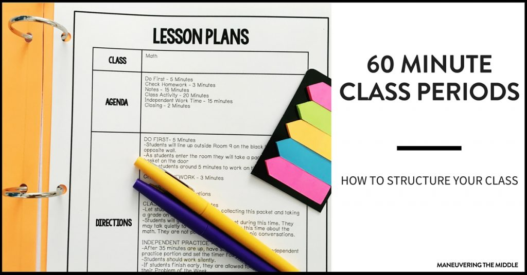How to Structure a 60 Minute Class Period - Maneuvering the Middle