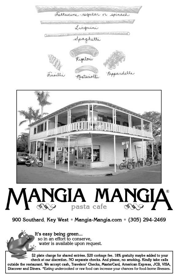 Restaurants in Key West - Mangia Mangia® Pasta Cafe - restaurant to go menu
