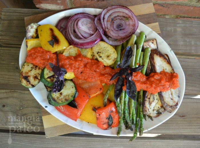 grilled veggies and red pepper sauce