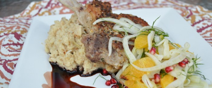 Seared Pork Chops over Cauliflower with Chilled Fennel Salad