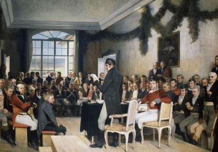 «Eidsvold 1814» av Oscar Wergeland. Riksforsamlingen trådte sammen på Eidsvoll den 11. april for å lage Norges grunnlov. Foto: Stortinget