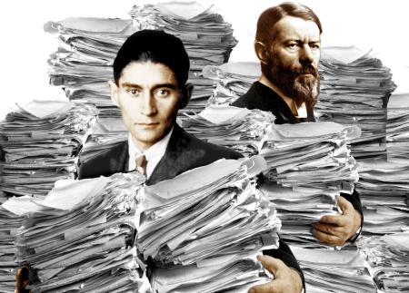 Byråkraten Franz Kafka og byråkratisosiolog Max Weber. Foto: Harald Groven