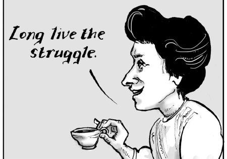 Rosa Luxemburg tegnet av Kate Evans.