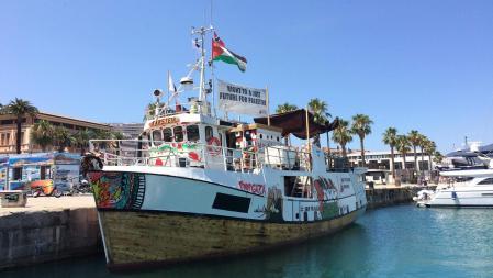 Det norske fiskefartøyet «Kårstein» skulle overleveres til palestinske fiskere, men ble bordet i internasjonalt farvann og konfiskert av den israelske marinen. Foto: Ship to Gaza Norway.