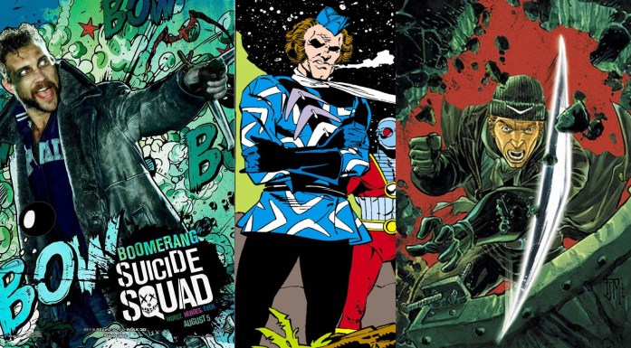 (L to R): Jai Courtney as Boomerang in 'Suicide Squad' movie (2016), Captain Boomerang in Suicide Squad cover (June 1987), and in The Flash (January 2011).