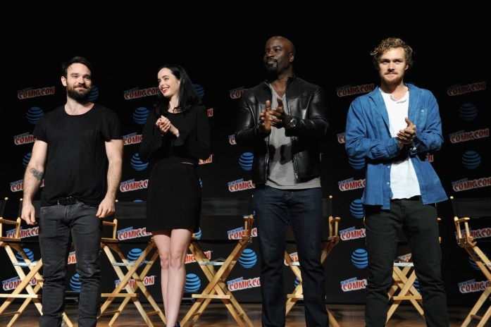 Charlie Cox, Krysten Ritter, Mike Colter, and Finn Jones on stage. (Photo courtesy of Netflix)