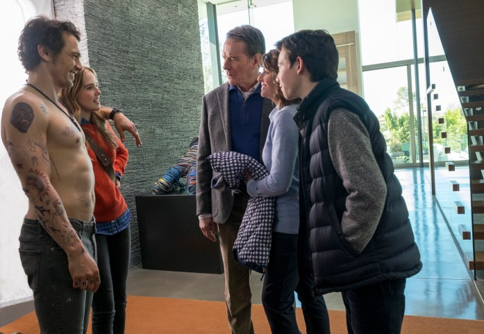 James Franco, Zoey Deutch, Bryan Cranston, Megan Mullally, and Griffin Gluck in 'Why Him?' (20th Century Fox/ Warner Bros.)