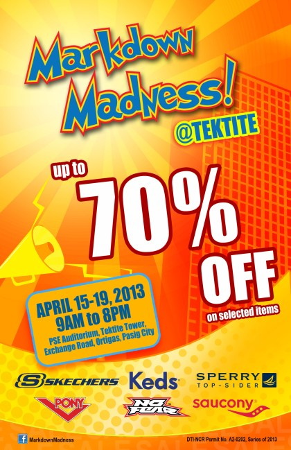 Markdown Madness at Tektite Tower: April 15 – 19, 2013