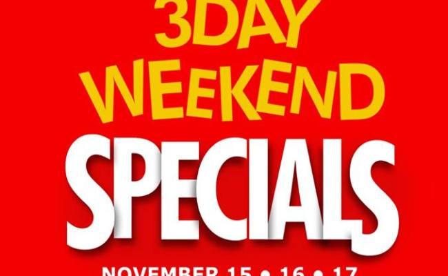 Metro Department Store 3 Day Weekend Specials November