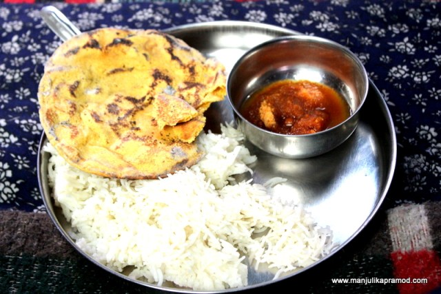 Gur Ghee and Roti Chawal