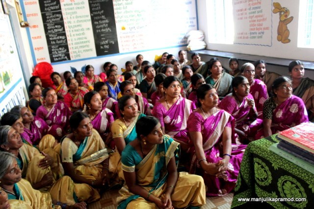 When the ladies of different self help groups came to meet me at the Anganwaadi