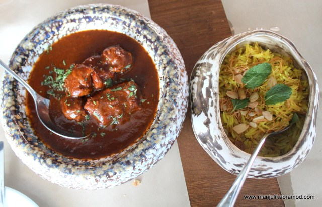 Mutton curry (Lamb pot) and Raisin Pilaaf